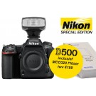 Nikon D500 Body + MCO320 opzetflitser/LED