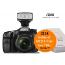 Sony Alpha SLT-A68 (ILCA68K) Special Edition + 18-55mm + MCO320 opzetflitser